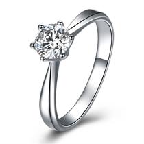【皇冠】 白18k金50分/0.5克拉钻石戒指