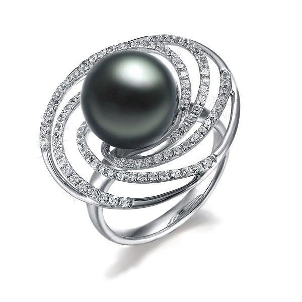 白18K钻石群镶夸张款大溪地黑珍珠戒指