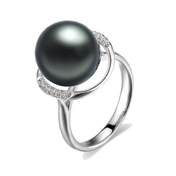 佐卡伊 守卫天使-待洗的黑珍珠钻戒-白18K金女式戒指