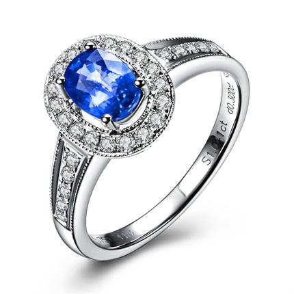【浪漫法兰西】 [Zocai/佐卡伊]1克拉18K白金蓝宝石戒指