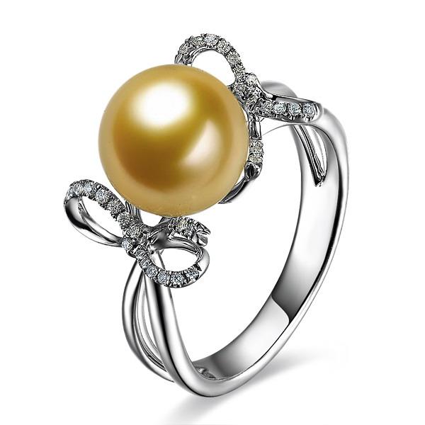 佐卡伊 怀抱梦想-白18K金南洋金珠女式戒指