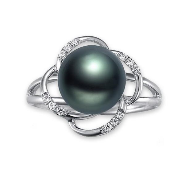 佐卡伊 海之恋-大溪地黑珍珠钻戒 白18K金女式戒指