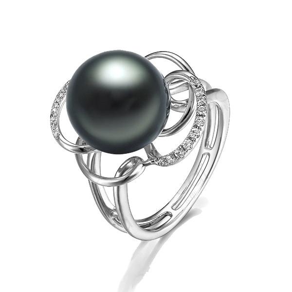 佐卡伊 时光-大溪地黑珍珠 白18K金女式戒指