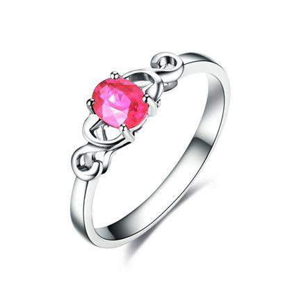 【浓情】 白18K金红宝石戒指(可定制蓝宝石)