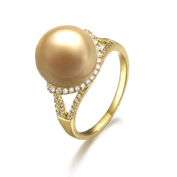 金色年华 黄18k 金南洋海水金珍珠钻石戒指