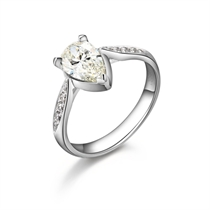 【娇子】 白18k金100分/1克拉钻石戒指