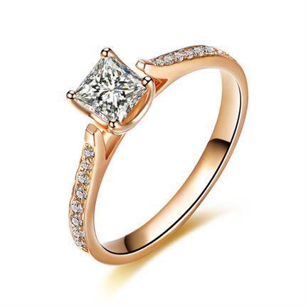 【公主之爱】 玫瑰18k金公主方钻石女戒