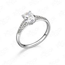 【无上之冕】 白18k金100分/1克拉钻石戒指