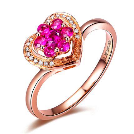 【玫瑰心愿】 玫瑰金天然紅寶石戒指