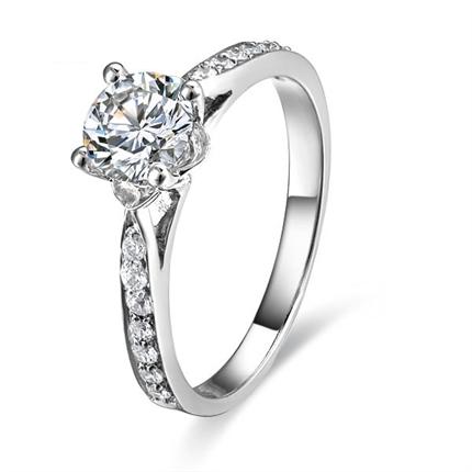【隽秀】 白18k金钻石女士戒指