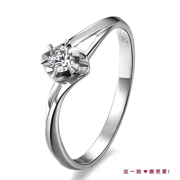 》》点击进入【花菱】 白18K金11分/0.11克拉钻石女士戒指