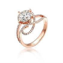 【玫瑰心语】 100分/1克拉玫瑰金钻石戒指