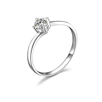 【四合】 白18k金40分/0.4克拉钻石戒指