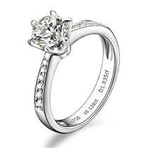 【无冕之爱】 白18k金钻石女士戒指