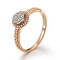 【玫瑰深情】 22分/0.22克拉玫瑰金钻石戒指
