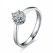 【绚丽】 白18k金21分/0.21克拉钻石戒指