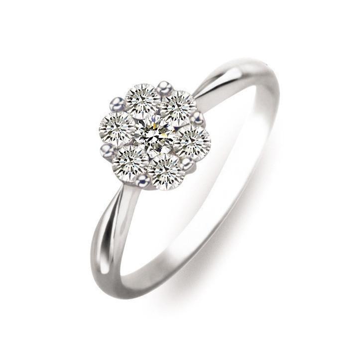 41分18K白金六围一钻石戒指
