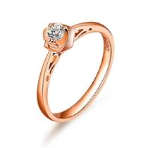 【玫瑰之恋】 11分/0.11克拉玫瑰金钻石戒指
