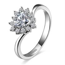 【倾心】 白18k金50分/0.5克拉钻石戒指