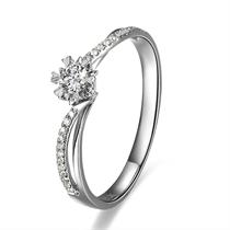 【罗马假日】 白18k金11分/0.11克拉钻石戒指