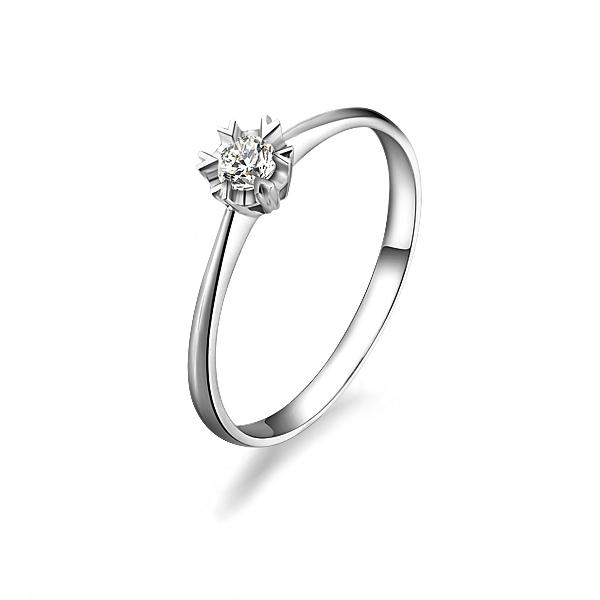 》》点击进入【相守爱】 白18k金12分/0.12克拉钻石戒指