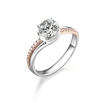 【执子之手】 100分/1克拉玫瑰金钻石戒指