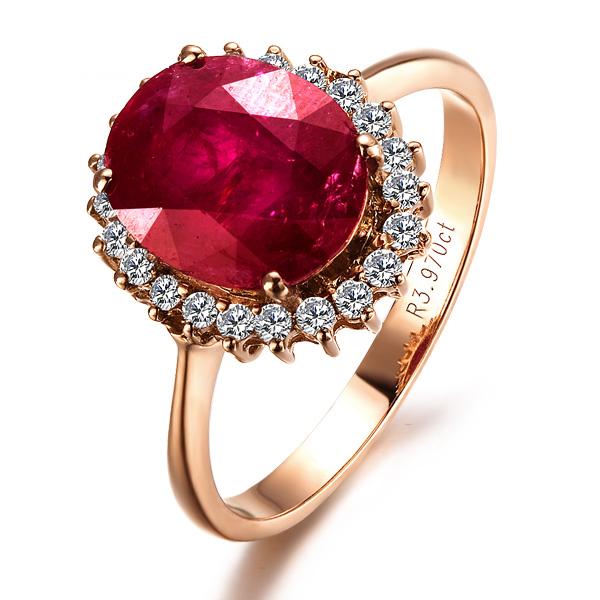 【桂冠】 玫瑰金天然红宝石戒指