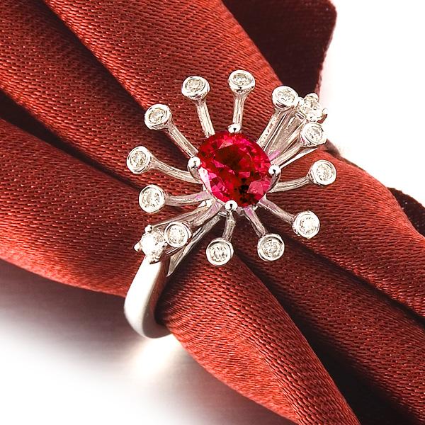 佐卡伊 绽放的烟花 红宝石钻戒-白18K金女式戒指