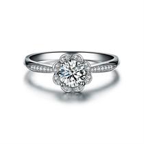 【莲花】 白18k金钻石女士戒指