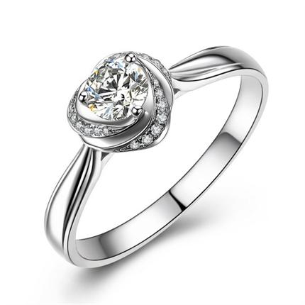 【深情玫瑰】 白18k金 钻石戒指