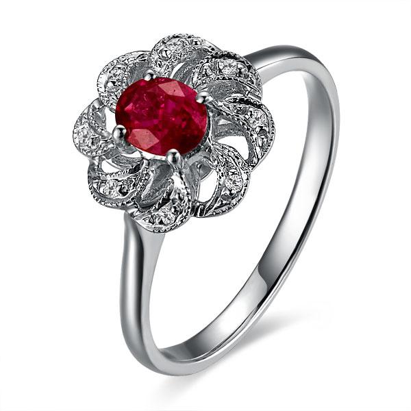 【魅力】 白18k金天然红宝石戒指