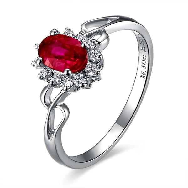 》》点击进入【守候】 天然红宝石白18K金女士戒指