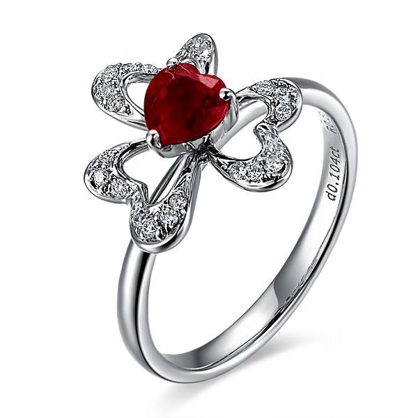 【舞菱】 白18k金天然红宝石戒指
