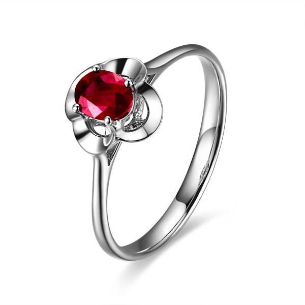 【恋】 白18k金天然红宝石戒指