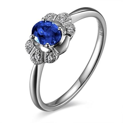 【二心人】 白18k金0.46克拉自然蓝宝石戒指
