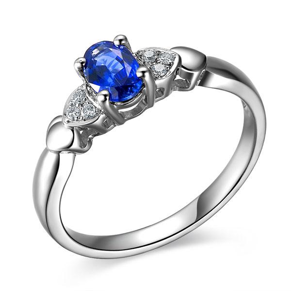 》》点击进入【柔美】 白18K金天然蓝宝石女士戒指