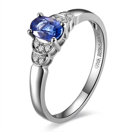 【碧水荡漾】 白18k金自然蓝宝石戒指
