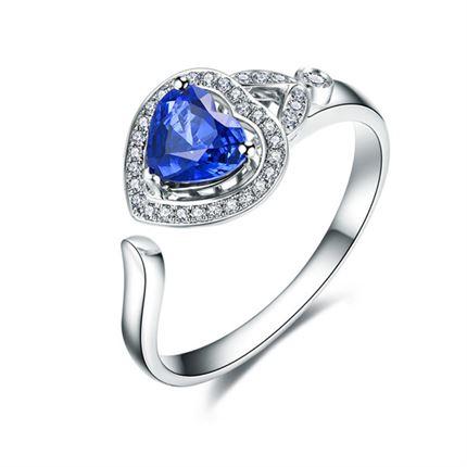 【高雅之心】 白18k金天然蓝宝石戒指