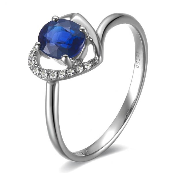 》》点击进入【心愿】 白18k金天然蓝宝石戒指