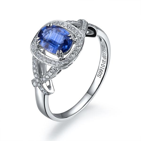 》》点击进入【爱倾城】 白18k金天然蓝宝石戒指