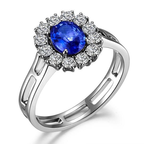 》》点击进入【高雅】 白18K金天然蓝宝石戒指