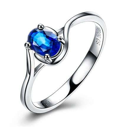 【许愿】 白18k金蓝宝石戒指