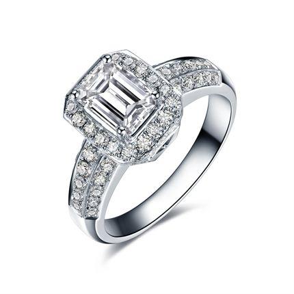 【天使祝福】 白18k金钻石女士戒指
