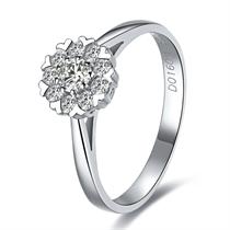 【雪花心形】 白18k金钻石戒指