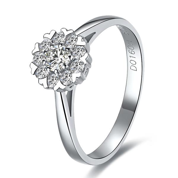 》》点击进入【雪花心形】 白18K金钻石戒指