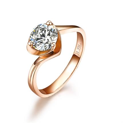 【天颜】 玫瑰18K金钻石女士戒指