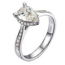 【炫彩人生】 白18k金钻石女士戒指