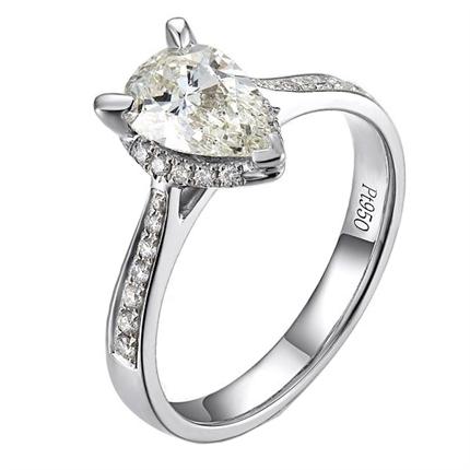 【炫彩人生】 白18k金钻石密斯戒指