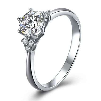 【缘定三生】 白18k金钻石戒指