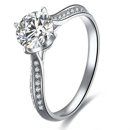 【真爱】 白18k金钻石女士戒指